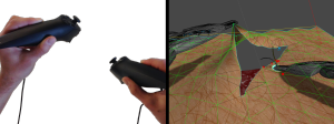 Left: The Razer Hydra used in the Surgical Skin Simulator prototype. Right: The skin mesh is composed of a number of triangles.
