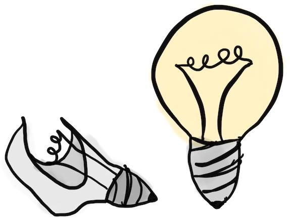 Broken light bulb vs illuminated light bulb