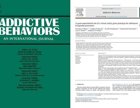 Cover page and front page of the paper about Invite Only VR published in the Journal for Addictive Behaviors