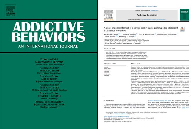 De cover van het Journal of Addictive Behaviors en de eerste pagina van de paper over Invite Only VR.