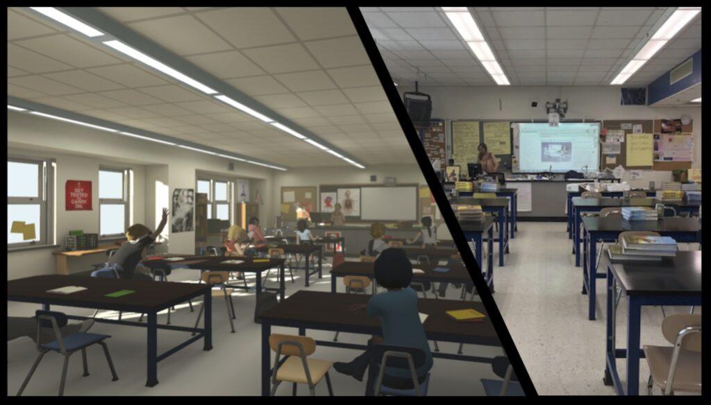 Het echte klaslokaal (rechts) en de virtuele versie (links).