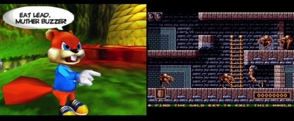 """Screenshot of Conker, the main character in Conker's Bad Fur Day, saying """"Eat Lead Muther Buzzer!"""" on the left, and screenshot of the platformer game Gods, on the right."""